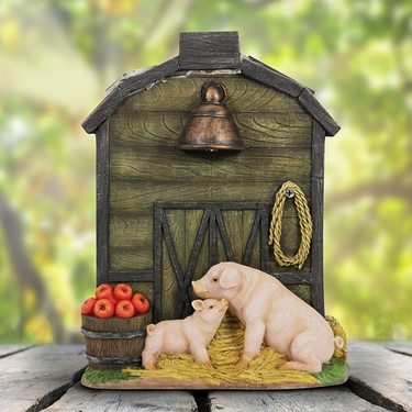 Solar Brown Barn w/Pig & Piglet - Click to enlarge