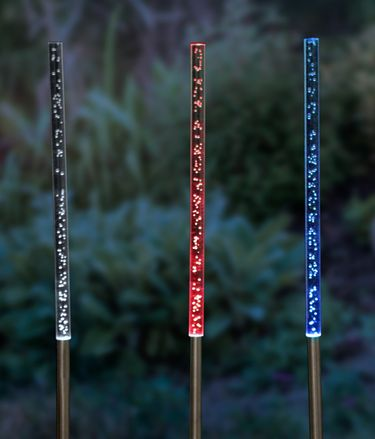 Solar Bubble Chain Stakes (Set of 3) - Color Changing - Click to enlarge