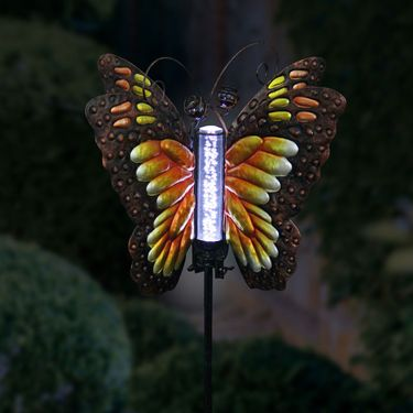 Solar Butterfly Bubble Stake - Orange - Click to enlarge