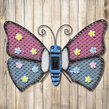 Solar Butterfly Wall Art - Pink & Blue - Click to enlarge