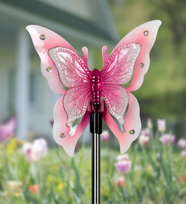 Solar Butterfly Wings w/12 LEDs Stake - Click to enlarge