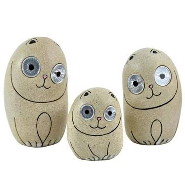 Solar Cats w/Light Up Eyes (Set of 3) - Beige - Click to enlarge