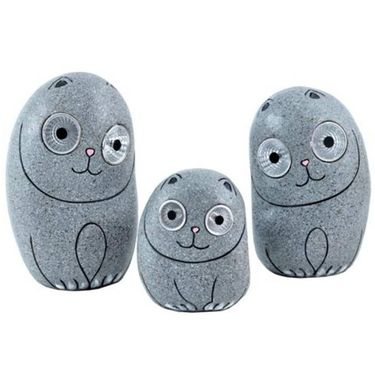 Solar Cats w/Light Up Eyes (Set of 3) - Grey - Click to enlarge