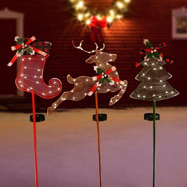 Solar Christmas Holiday Stakes (Set of 3) - Click to enlarge