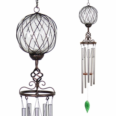 Solar Clear Caged Glass Wind Chime - Click to enlarge