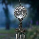 Solar Clear Caged Glass Wind Chime