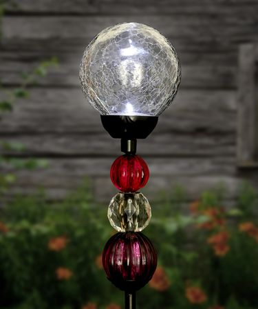 Solar Crackle Ball w/Beads Stake - Clear - Click to enlarge
