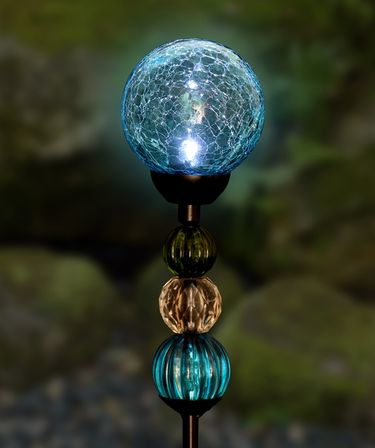 Solar Crackle Ball w/Beads Stake - Sea Blue - Click to enlarge