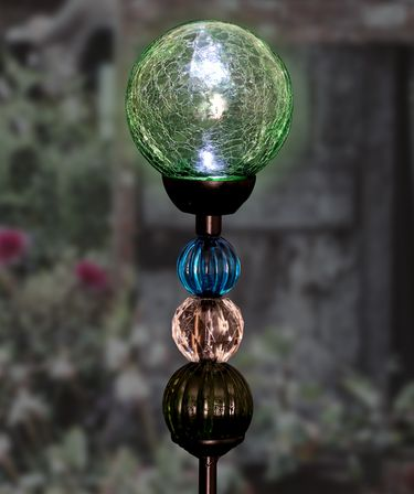 Solar Crackle Ball w/Beads Stake - Sea Green - Click to enlarge