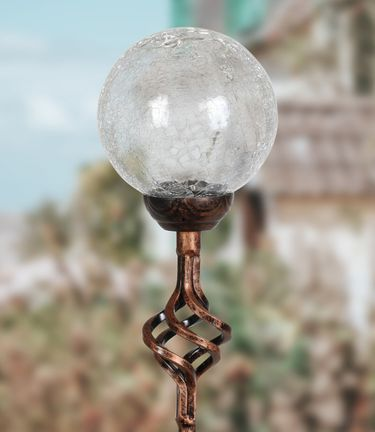 Solar Crackle Glass Finial Garden Stake - Clear - Click to enlarge