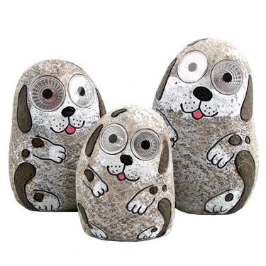 Solar Dogs w/Light Up Eyes (Set of 3) - Grey - Click to enlarge