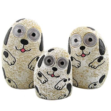 Solar Dogs w/Light Up Eyes (Set of 3) - Ivory - Click to enlarge