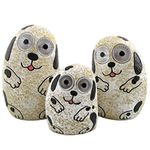 Solar Dogs w/Light Up Eyes (Set of 3) - Ivory