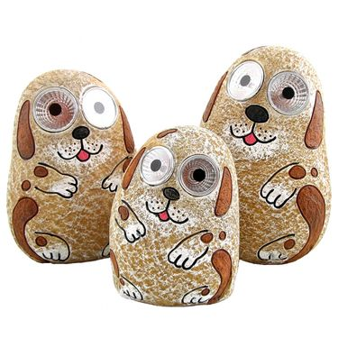 Solar Dogs w/Light Up Eyes (Set of 3) - Peach - Click to enlarge