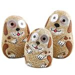 Solar Dogs w/Light Up Eyes (Set of 3) - Peach