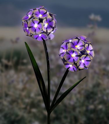 Solar Double LED Hydrangea Stake - Purple - Click to enlarge