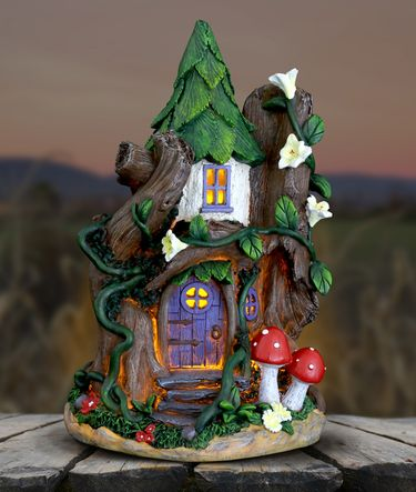 Solar Fairy House w/Red Mushrooms - Click to enlarge