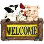 Solar Farm Animals w/LED Welcome Sign