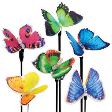 Solar Fiber-Optic Butterflies (Set of 6) - Click to enlarge
