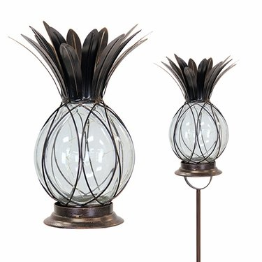 Solar Firefly Garden Stake/Lantern - Bronze Pineapple - Click to enlarge
