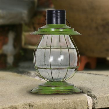 Solar Firefly Lantern w/Base - Green - Click to enlarge
