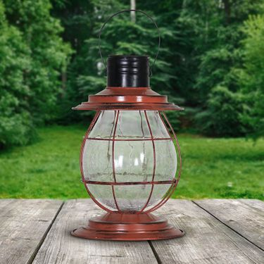 Solar Firefly Lantern w/Base - Rust - Click to enlarge