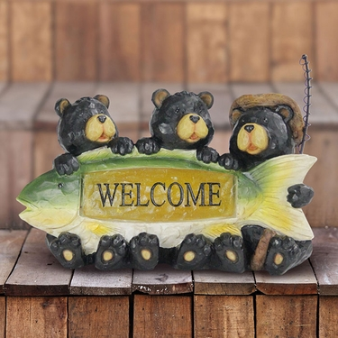 Solar Fisherman Bears w/Welcome Sign - Click to enlarge