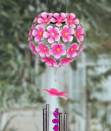 Solar Flower Ball Wind Chime - Pink w/32 LEDs! - Click to enlarge