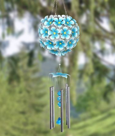 Solar Flower Ball Wind Chime - Turquoise w/32 LEDs! - Click to enlarge