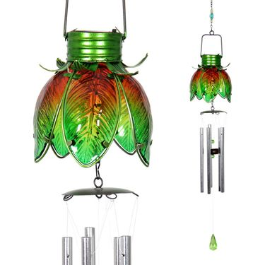 Solar Flower Chime - Green - Click to enlarge