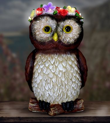 Solar Flower Crown Critter - Owl - Click to enlarge