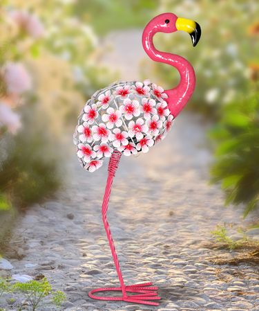 Solar Flower Flamingo Statue - Click to enlarge