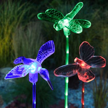 Solar Friends w/LED Garden Stakes (Set of 3) - Click to enlarge