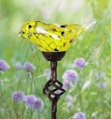 Solar Glass Bird Finial Stake - Yellow - Click to enlarge