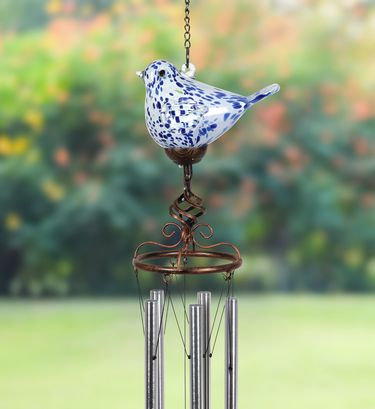 Solar Glass Bird Windchime - Dk Blue - Click to enlarge