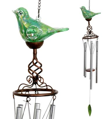 Solar Glass Bird Windchime - Green - Click to enlarge