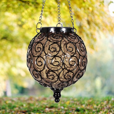 Solar Glass Filigree Lantern - Amber - Click to enlarge