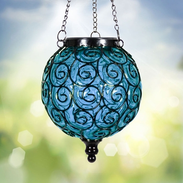 Solar Glass Filigree Lantern - Blue - Click to enlarge