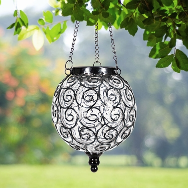 Solar Glass Filigree Lantern - Clear - Click to enlarge