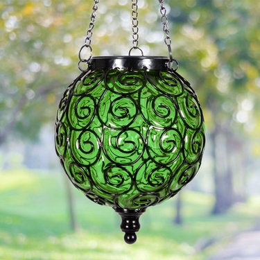 Solar Glass Filigree Lantern - Green - Click to enlarge