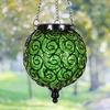 Solar Glass Filigree Lantern - Green