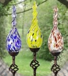 Solar Glass Flame Finial Stakes (Set of 3)
