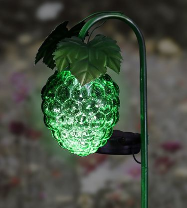 Solar Glass Grapes Garden Stake - Green - Click to enlarge