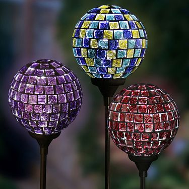 Solar Glass Mosaic Ball Stakes (Set of 3) - Click to enlarge