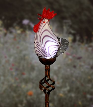 Solar Glass Rooster Garden Stake - Click to enlarge