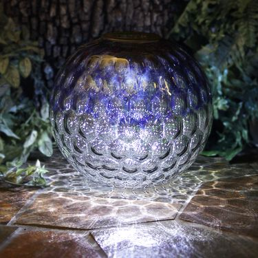 Solar Glass Tabletop Orb - Blue & Grey - Click to enlarge