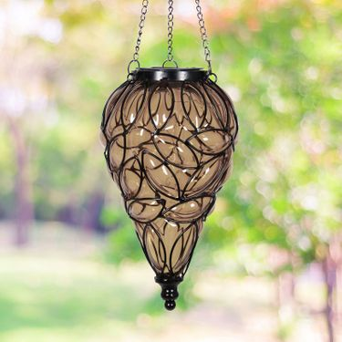 Solar Glass Tear Lantern - Amber - Click to enlarge