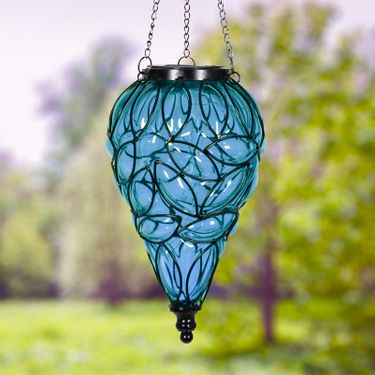 Solar Glass Tear Lantern - Blue - Click to enlarge