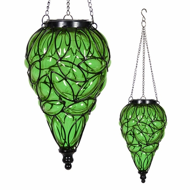 Solar Glass Tear Lantern - Green - Click to enlarge