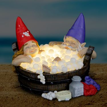 Solar Gnomes in Bubble Bath - Click to enlarge